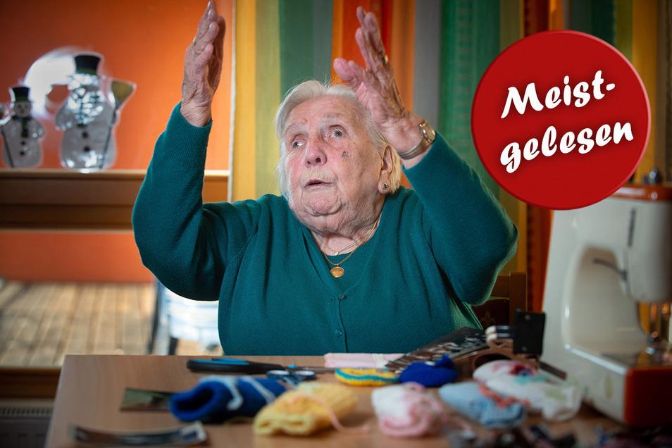 """""""Ich sächsel wie verrückt"""": Charlotte Simunek ist auch mit 99 Jahren nicht auf den Mund gefallen."""