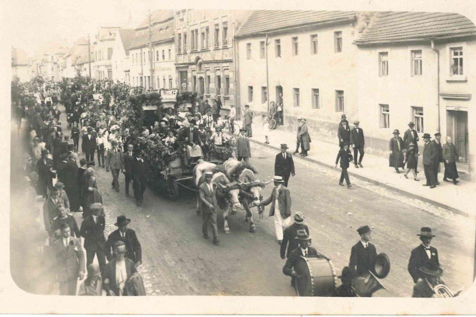 Das Bild aus dem Museums-Fundus zeigt einen Beitrag der Sparte Reiter zum Fest-Umzug durch Riesa 1927.