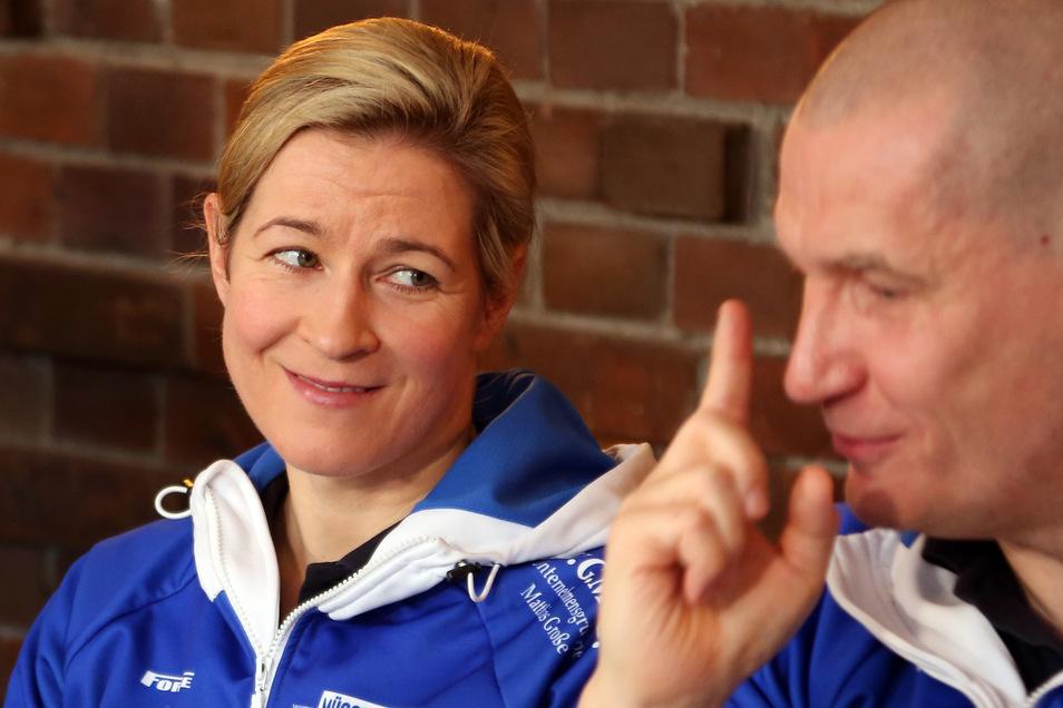 Eisschnellläuferin Claudia Pechstein und ihr Lebensgefährte Matthias Große.