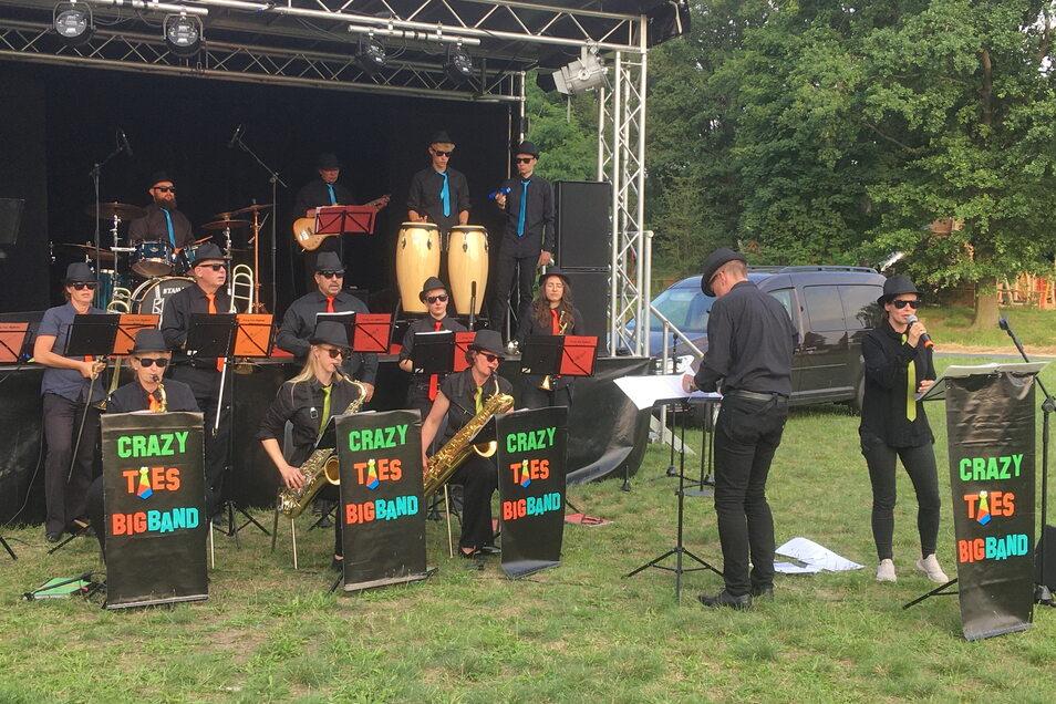 Die Crazy ties Bigband bei ihrem Auftritt zum Großenhainer Kultursommer auf der Festwiese. Am 18. September eröffnet sie die diesjährige Kulturnacht.
