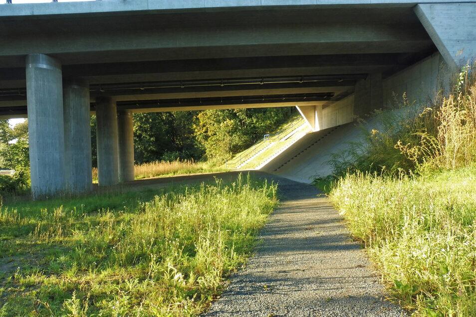 Neu angelegt: Der Wanderweg nach Weesenstein führt vom Postweg kommend auf der anderen Seite der Seidewitz unter der Brücke hindurch.