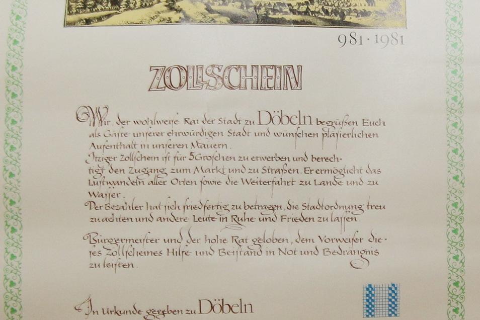 Auch diesen Zollschein gab es zur 1000-Jahr-Feier in Döbeln.