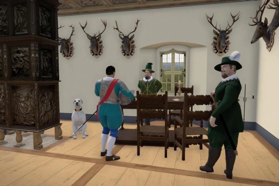 Solch ein Bild von der königlichen Hofstube sehen die Festungsbesucher, wenn sie den virtuellen Rundgang antreten.
