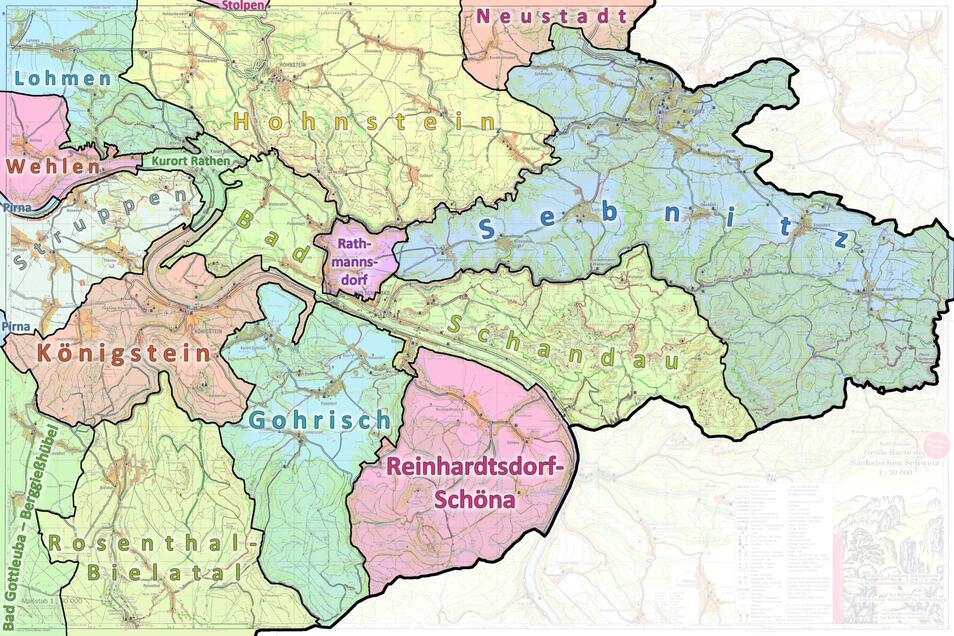 Gemeinden in der Sächsischen Schweiz mit ihren Grenzen: Das Kirnitzschtal gehört teils zu Bad Schandau, teils zu Sebnitz.