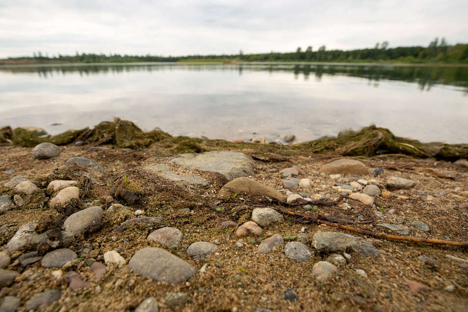 Das Wasserpegel im Badesee Birkwitz bei Pirna ist stark gesunken.