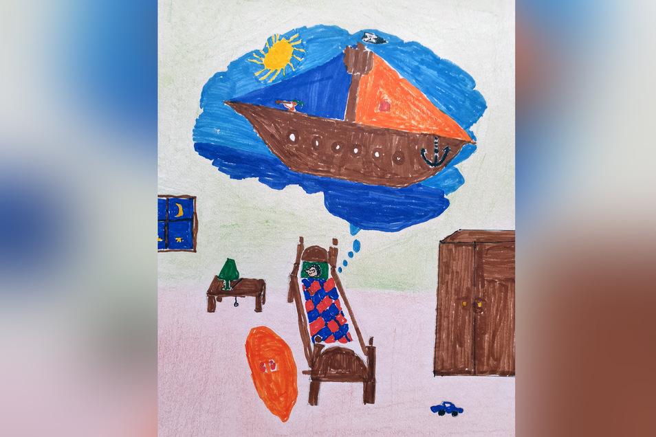 """Das Bild von Elias Jurczyk zeigt einen tatsächlichen Traum. Deshalb heißt es auch """"Ein schöner Traum"""", den er mit Buntstiften gezeichnet haben."""