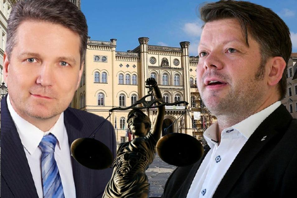 FDP-Stadtrat Jörg Gullus (l.) ist mit dem Antrag gescheitert, die Stadt Zittau solle ihren Mandatsträgern im Ernstfall einen Anwalt finanzieren. Nicht nur OB Thomas Zenker lehnt das rigoros ab.