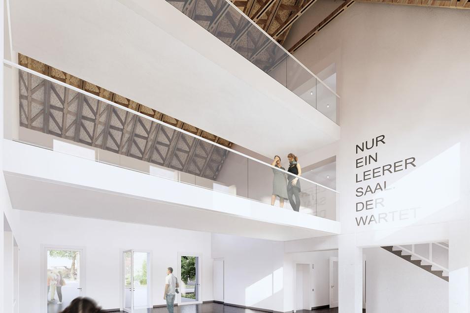 Gebäudehoch und sehr hell soll das Foyer des Ostflügels werden.