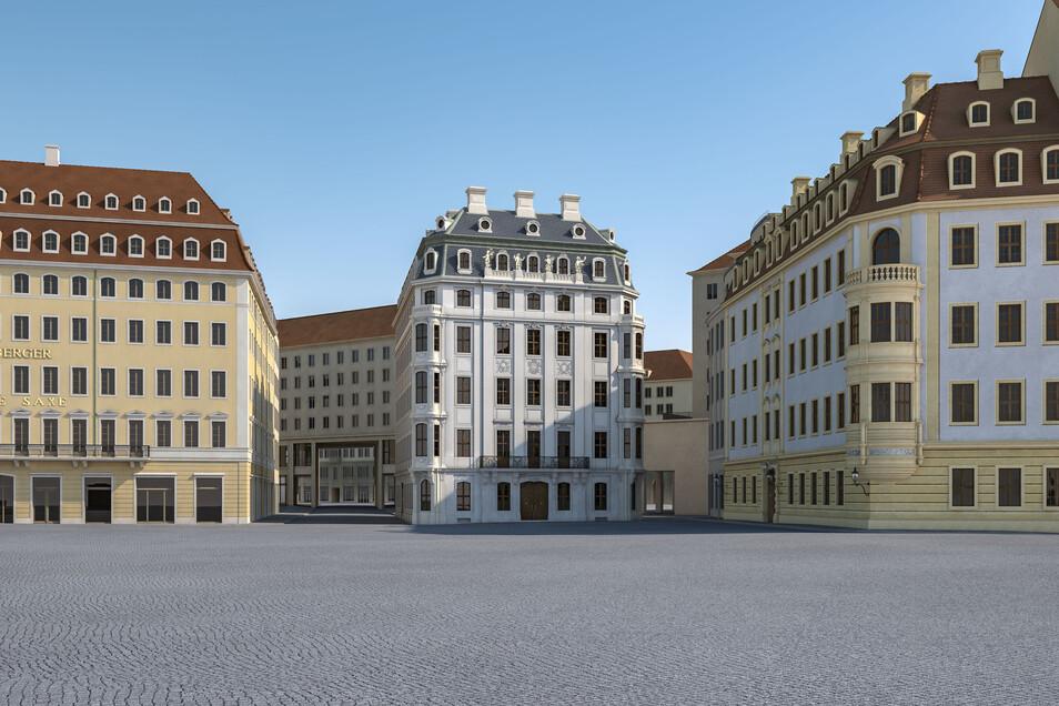 So könnte das Hotel Stadt Rom aussehen, wenn es etwas nach Nordosten verschoben wird und ein Durchbruch zur Wilsdruffer Straße entsteht.