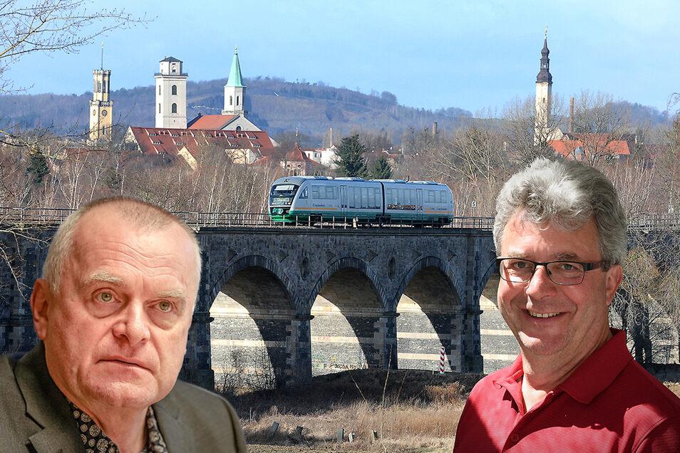 Großschönaus Bürgermeister Frank Peuker (r.) ärgert sich über Einschränkungen bei der Länderbahn. Zvon-Chef Hans-Jürgen Pfeiffer schlägt ein Gespräch vor.