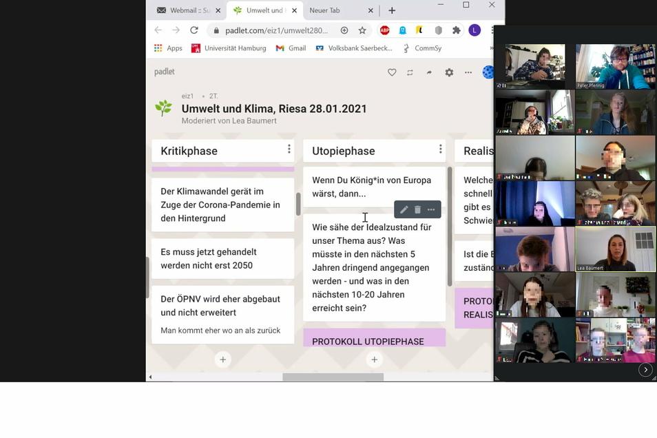 """Digitaler Workshop: Schüler des Heisenberg-Gymnasiums bei der digitalen """"Zukunftswerkstatt""""."""