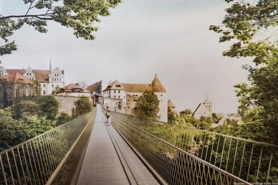 Blick in die Zukunft: So könnte die neue Fußgängerbrücke über die Spree einmal aussehen. Doch bis zum Baustart müssen noch viele Fragen geklärt werden.