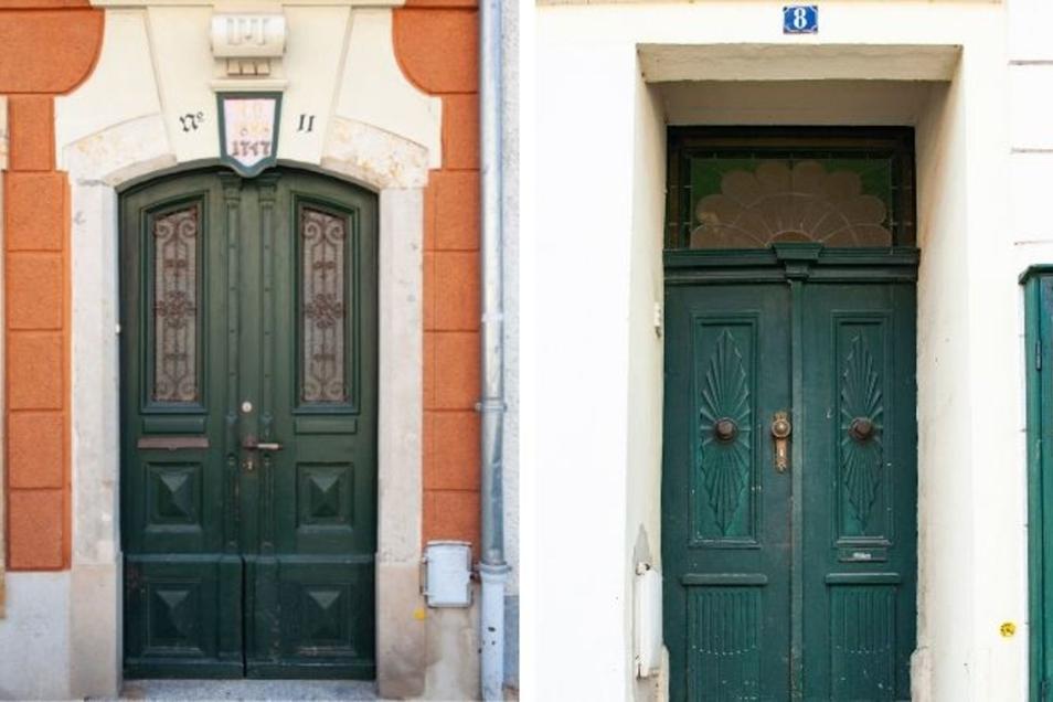 In der Frauengasse 11 (links) wohnte einst Stadtchronist Siegfried Hoffmann. 1898 wurde das Gebäude letztmalig umgebaut. Das Haus in der Naundorfer Straße 8. (rechts), in dem sich die Medipflege befindet, hat ein Türblatt, das über 200 Jahre alt sein soll.