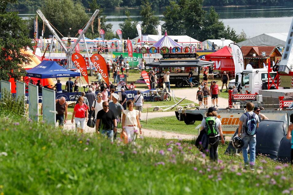 Blick auf das Veranstaltungsgelände der O-See Challenge 2021.