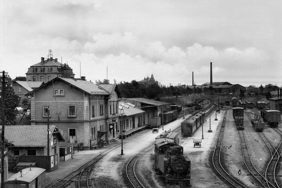 So sah der Wilsdruffer Bahnhof Ende der 1920er-Jahre aus. Der war das Herz eines Schmalspurbahnnetzes.