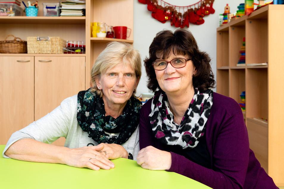 Christiane Gnauck und Andrea Eckert sind angekommen im neuen Kinderhaus. Sie machten gemeinsam in den 70er-Jahren eine Ausbildung zur Krippenschwester, gingen dann beruflich getrennte Wege und fanden vor acht Jahren wieder zusammen.