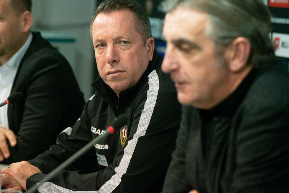 Die Lage ist ernst, die Mienen sind es auch. Nun hat sich Trainer Markus Kauczinski (links) zur ungeklärten Vertragssituation von Sportchef Ralf Minge (rechts) geäußert.
