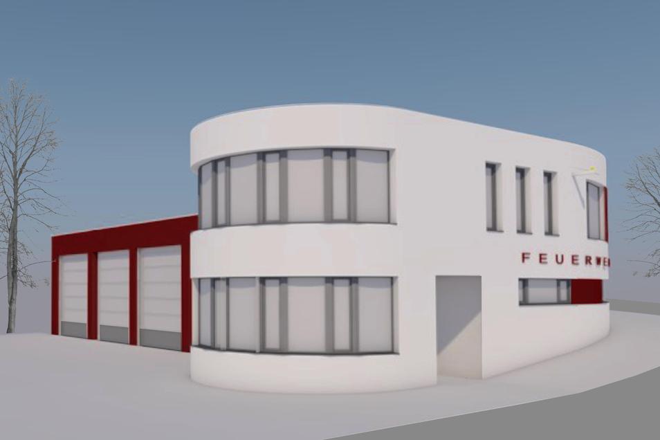 So soll das neue Feuerwehrgerätehaus in Rabenau einmal aussehen, hier die Ansicht aus Richtung Stadt.