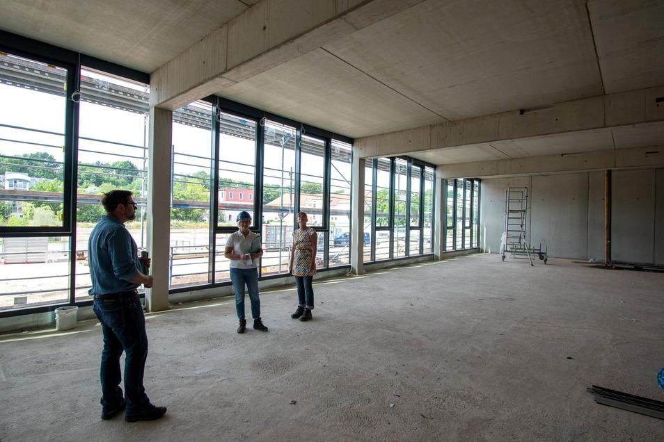 So sieht der Glasanbau des Landesrechnungshofes von innen aus. Er wird als Versammlungsraum genutzt und kann unterteilt werden.
