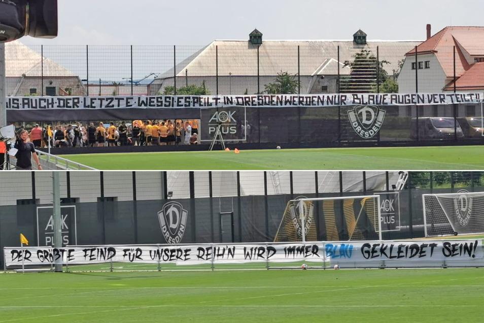Mit zwei Spruchbändern protestierten Dynamo-Fans beim Testspiel gegen Hertha BSC II vor einer Woche gegen die blaue Mannschaftskleidung.