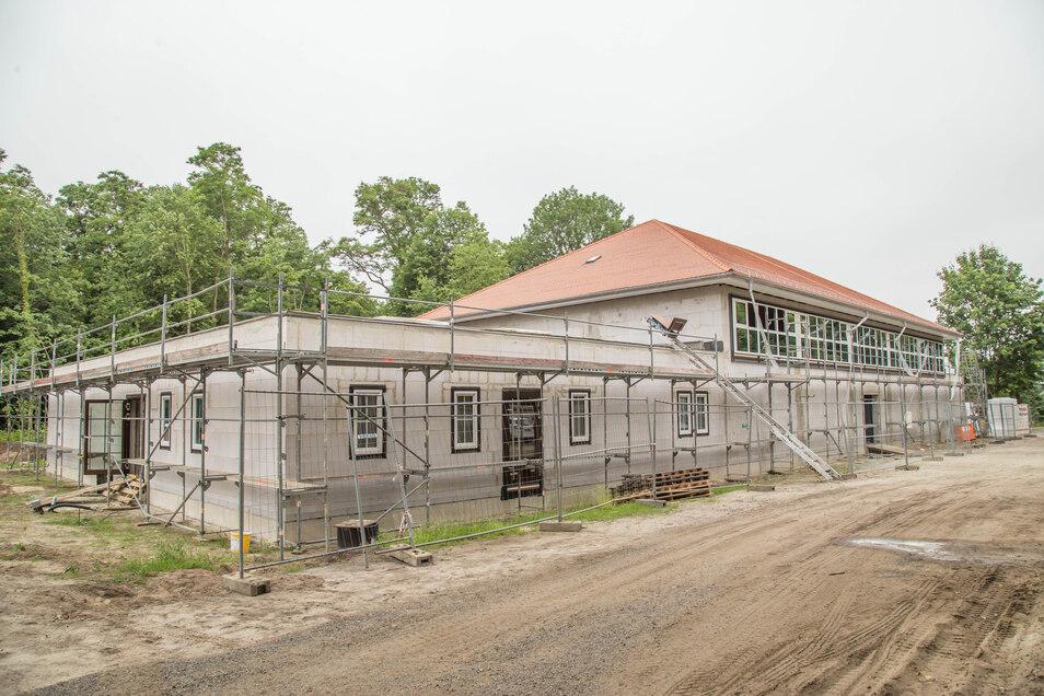 Wie die neue Turnhalle in Kreba-Neudorf aussehen wird, davon kann man sich bereits ein Bild machen.