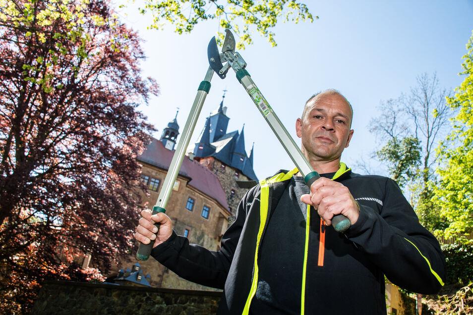 Hausmeister Thomas Hahnefeld hat in den zurückliegenden Wochen mit Astschere und Motorsäge den Wildwuchs an den Hängen der Burg Kriebstein abgeschnitten.
