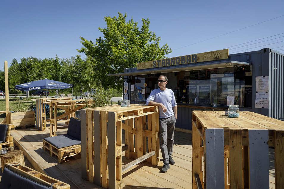 René Freigang betreibt die Strandbar am Berzdorfer See.