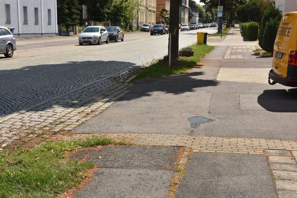 Der Geh- und Radweg wird von zahlreichen Grundstückszufahrten unterbrochen. Die Zufahrten sind Privatsache, der Weg hingegen kommunale. Und würde man jetzt den Weg grundhaft erneuern, wäre dies ungünstig bei einem möglichen Straßenausbau.