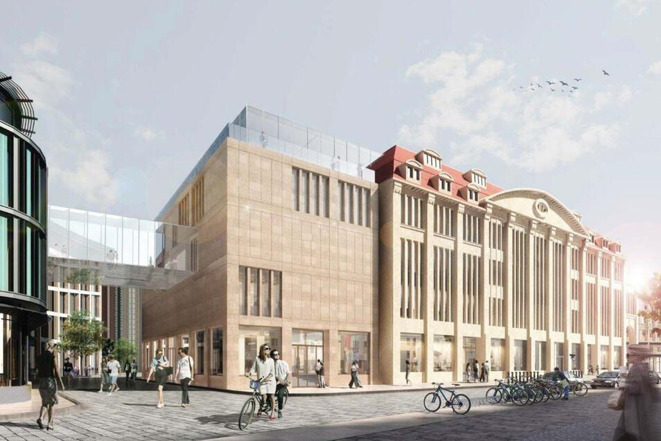 So soll das Kaufhaus einmal aussehen - Blick von der Struvestraße auf das Kaufhaus (rechts) und angeschnitten links das City-Center.
