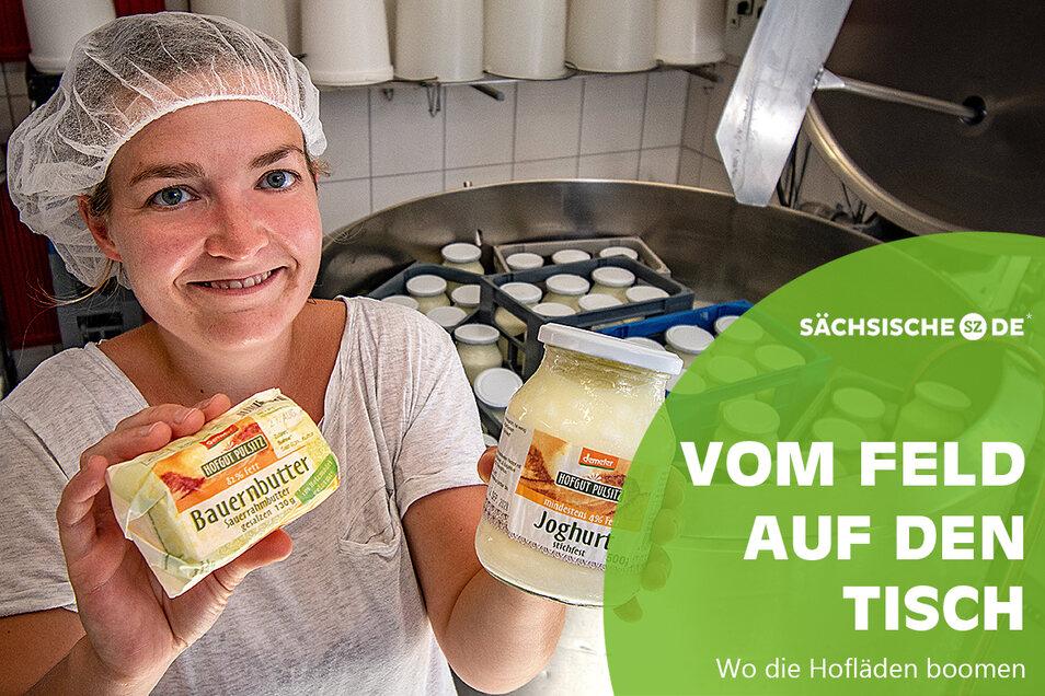 Sarah Schmidt gehört zu den Frauen, die in der Käserei im Hofgut Pulsitz die Milch veredeln. Sie stellen Käse, Joghurt und Butter her.