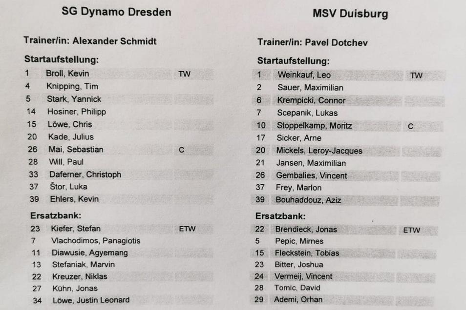 Die Aufstellungen - ohne Überraschungen auf Dynamo-Seite.