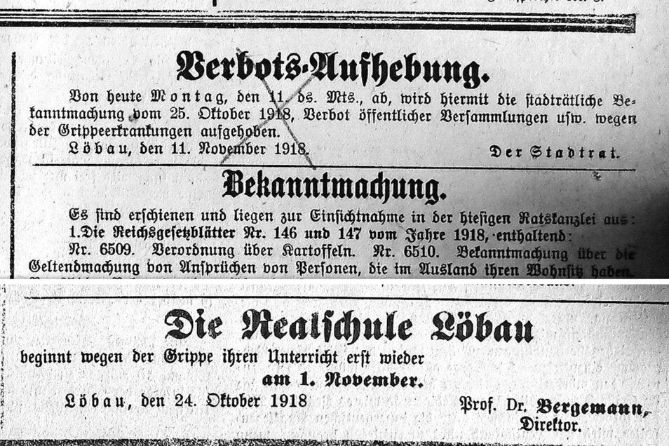 """Mit Anzeigen im """"Sächsischen Postillon"""" wurden Schulschließungen bekannt gegeben, aber auch Einschränkungen wieder aufgehoben."""