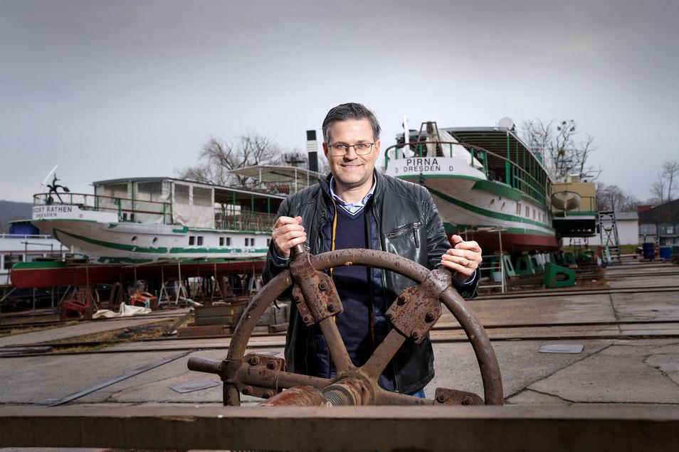 Sven Spielvogel hat die Laubegaster Werft im Sommer 2019 übernommen und will sie ausbauen. Nun hat sich die Gestaltungskommission mit seinen Erweiterungsplänen beschäftigt