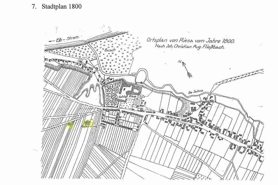 Ein alter Ortsplan zeigt den historischen Standort der Käferlinde (gelb markiert). Beim Schloss Riesa handelt es sich um das heute unter anderem von der Stadtverwaltung genutzte Kloster.