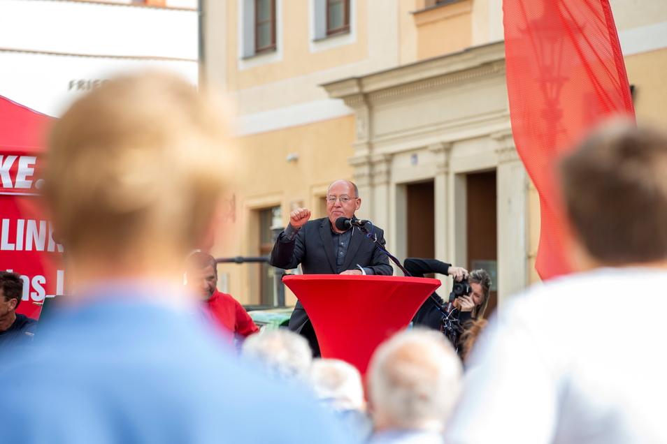 Die Linke holte Gregor Gysi zu einer Wahlkampfveranstaltung nach Pirna.