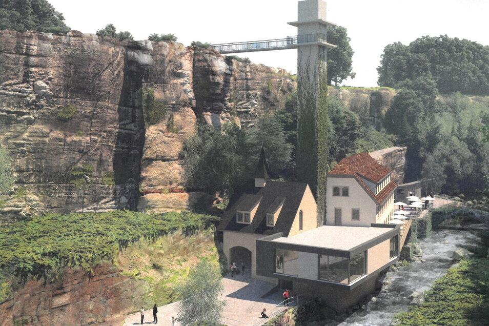 So soll es werden: Die sanierte Lochmühle mit dem Biergarten (hinten rechts). Ein Aufzug führt nach oben, der geplante Hotel-Neubau wird etwas abseits auf dem freien Feld errichtet.