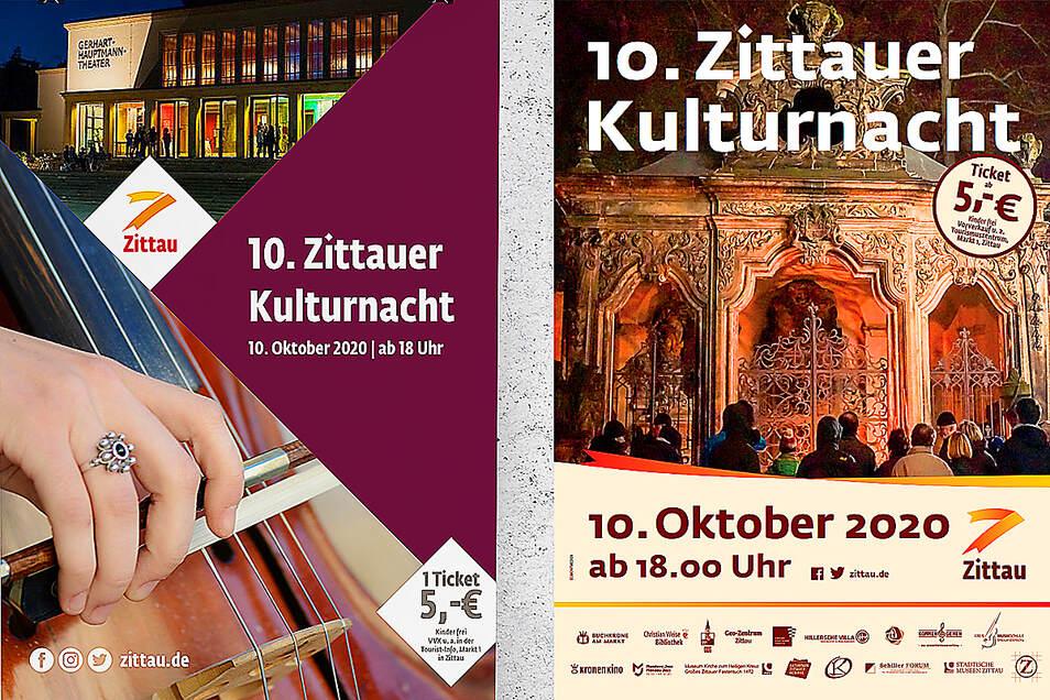 Die neue (links) und die bisherige Gestaltung der Publikationen des Zittauer Rathauses im Vergleich.