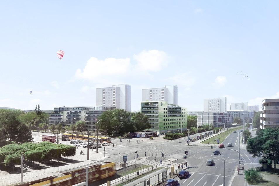 Diese Visualisierung zeigt den geplanten Neubau nahe dem Straßburger Platz.