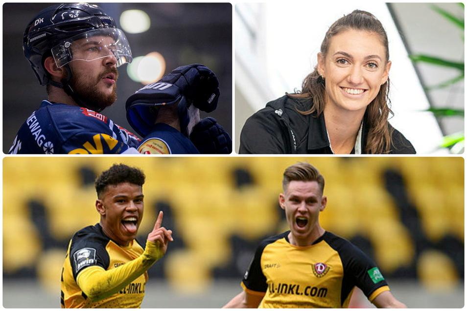 Die Protagonisten des Sportmittwochs: Eislöwe Steven Rupprich, DSC-Kapitänin Lena Stigrot und Dynamos Mittelfeldmann Julius Kade (r.).