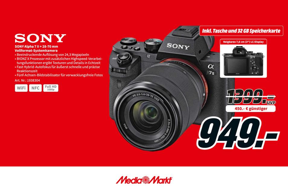Sony Alpha 7 II + 28-70 mm Vollformat-Systemkamera nur 949€ statt 1.399€