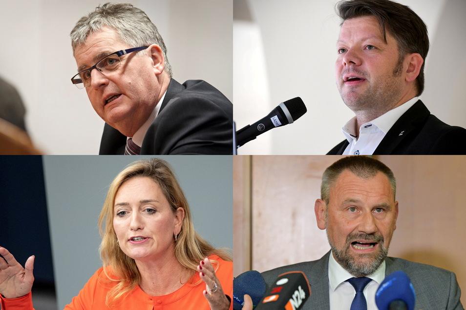 Stimmen aus der Lausitz zur Strukturwandel-Liste: der Görlitzer Landrat Bernd Lange (o.l.), Zittaus OB Thomas Zenker (o.r.), Linken-Bundestagsabgeordnete Caren Lay, CDU-Landtagsabgeordneter Marko Schiemann