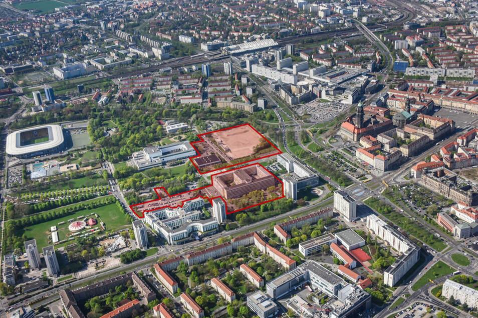 Auf den rot eingefärbten Flächen sollen in der Lingnerstadt neue Wohnungen entstehen.
