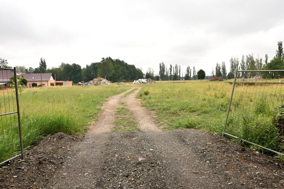 """Von hier aus soll das geplante Eigenheimgebiet """"Am Adler"""" erschlossen werden. Derzeit ist das die Baustellenausfahrt für den Abtransport der Abbruchmassen."""