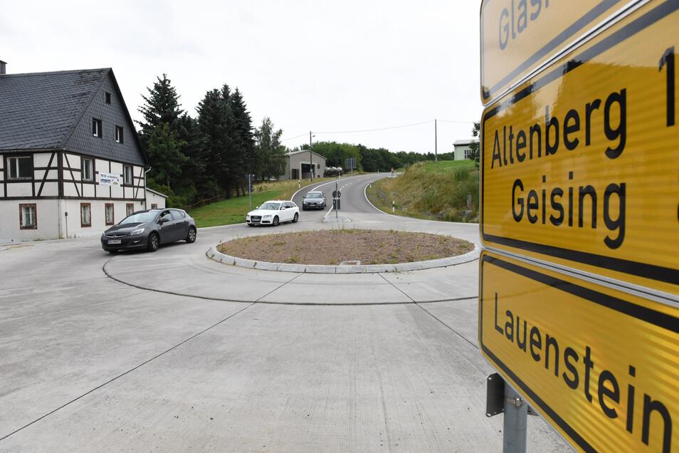 So sieht der Kreisverkehr in Liebenau im Osterzgebirge aus.