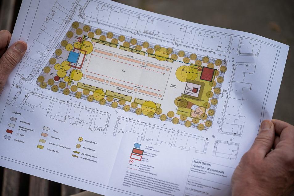 So sieht der Plan zur möglichen Umgestaltung des Wilhelmsplatzes aus. Große gelbe Kreise sind alte Bäume, kleine Kreise hingegen Bäume, die neu gepflanzt werden wollen. Das blaue Viereck links ist das Wasserspiel.