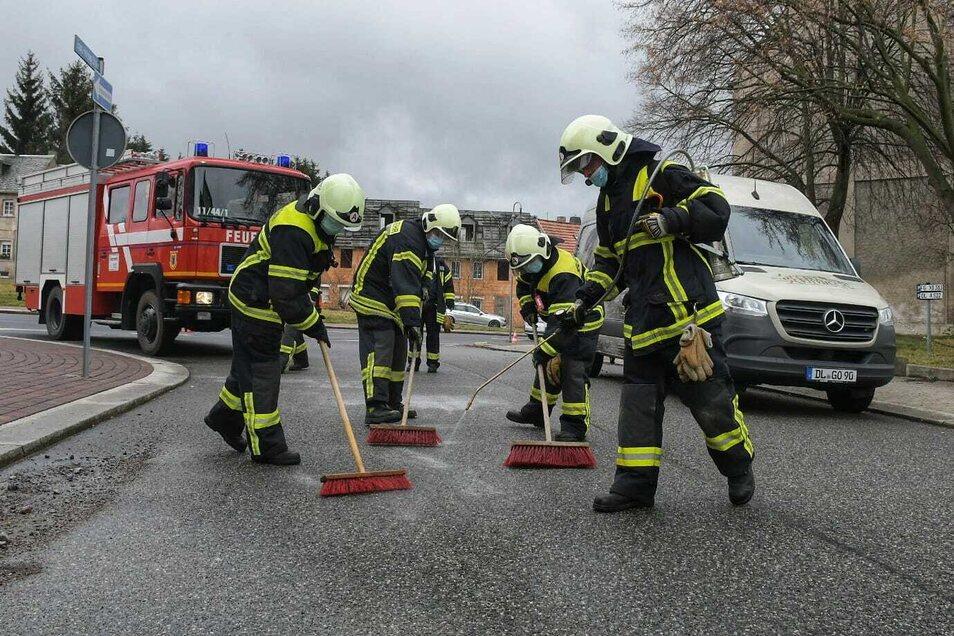 Neun Feuerwehrleute waren mit zwei Fahrzeugen in Hartha im Einsatz. Öl war verteilt auf der Straße.