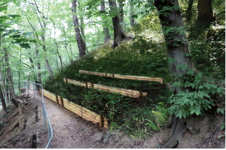 Die Hangbereiche müssen vor Erosion geschützt werden. Visualisierung