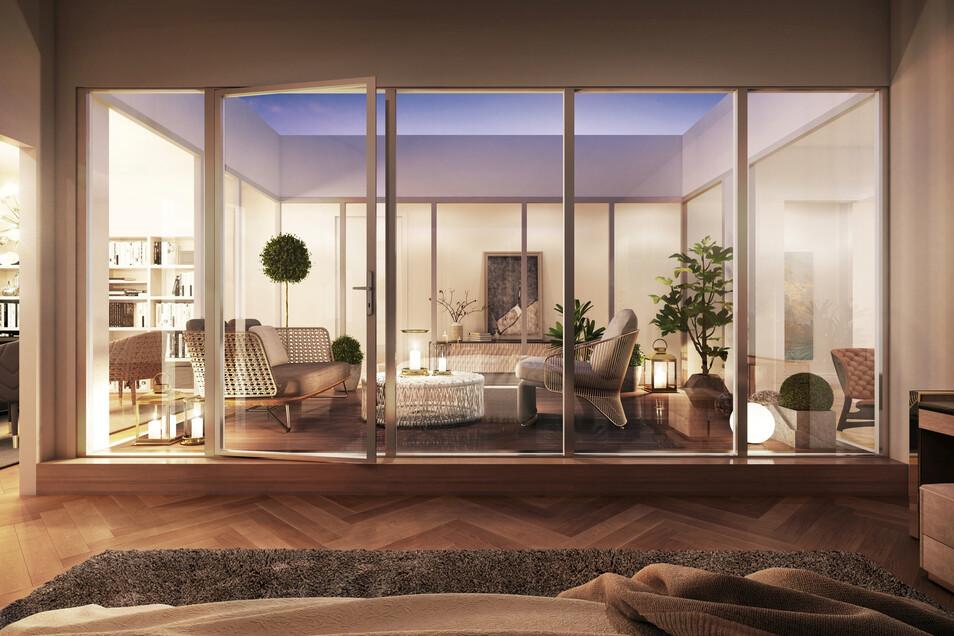 Das Dachgeschoss. Sieben Zwei- bis Vierraumwohnungen werden auf dem Boden ausgebaut. Die neuen Fenster werden zwar ein Stück größer. Doch das reicht nicht für genügend Licht. Deshalb erhält jede Wohnung einen Innenhof mit Terrasse (siehe Visualisierung). Durch große Glasfronten kommt so Licht in die Wohnungen.Visualisierung: CG-Gruppe