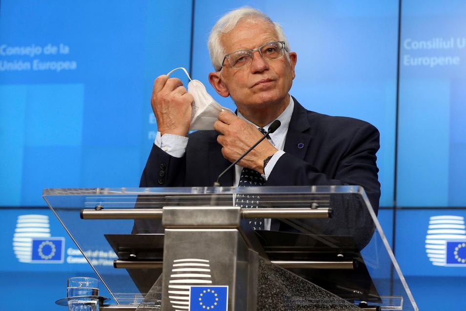 Josep Borrell, EU-Außenbeauftragter, bei einer Pressekonferenz im Gebäude des Europäischen Rates in Brüssel.