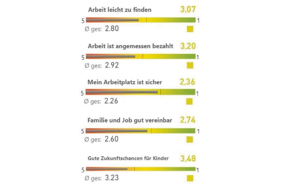 So bewerten die Großenhainer die Fragen im Bereich Arbeit.